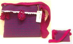 Morral azul/fucsia-cierre flor  Shoulder bag Handmade