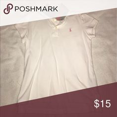 Ralph Lauren white polo shirt In great condition. Pretty pink symbol and on collar Ralph Lauren Shirts & Tops Polos