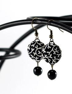 Black and White Dangle Earrings Tendrils by PatchworkMillJewelry