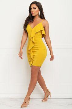 1b3f650e7efd Veronica Dress - Mustard Yellow