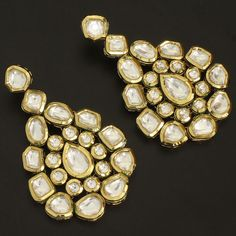 Gold Plated Kundan Earrings @ Indiatrend For $88.99USD