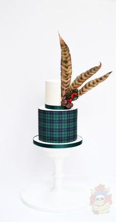 Feathers and tartan - Cake by Karen Keaney Scottish Wedding Cakes, Gay Wedding Cakes, Wafer Paper Flowers, Wafer Paper Cake, Feather Cake, Cake Design For Men, Tartan Wedding, Birthday Cakes For Men, 90th Birthday