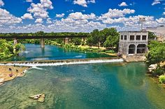 A view of the Guadalupe River off the Faust Street Bridge in New Braunfels Texas.