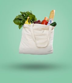 Floating groceries in reusable shopping bag
