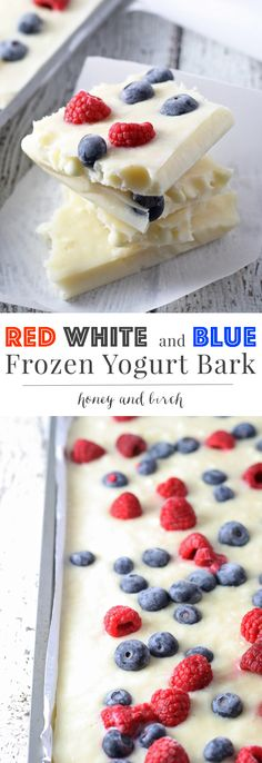 Red White and Blue Frozen Yogurt Bark Looking for a fun patriotic dessert that is a little healthier? Try this red white and blue frozen yogurt bark. It's full of berries and sweetened with honey for a perfect holiday dessert! Healthy Treats, Healthy Desserts, Yummy Treats, Delicious Desserts, Sweet Treats, Yummy Food, Healthy Recipes, Patriotic Desserts, Holiday Desserts