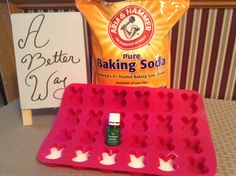 Homemade Shower Tablets for congestion. Make a paste with baking soda and water. Add Young Living Eucalyptus essential oil. Mix together and spoon into silicone mold of choice. Let dry completely. Once dry, place into tub as you shower