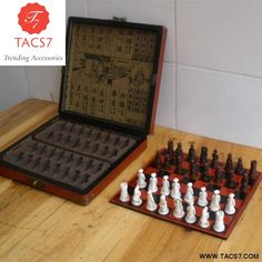 9fc9ac4c0df New Antique Chess Set of Chess Wooden Coffee Table Antique Miniature Chess  Board Chess Pieces Move Box Set Retro Style lifelike