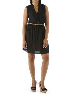 dots: Button Down Belted Shirt Dress