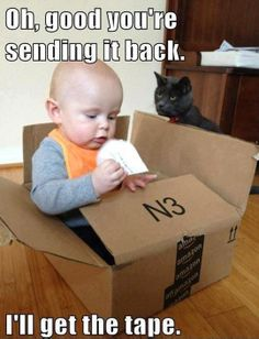 Geeky parent shows why you shouldn't leave empty boxes around with cats and babies.