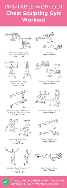 Chest Sculpting Gym Workout: my visual workout created at WorkoutLabs.com • Click through to customize and download as a FREE PDF! #customworkout