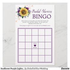 Sunflower Purple Lights Bridal Shower Bingo Game Bridal Shower Bingo, Wedding Shower Games, Free Birthday Card, Birthday Cards, Bingo Games, Card Games, Purple Roses, Zazzle Invitations, Lights