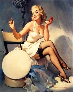 """All Set"" by Gil Elvgren #Gil #Elvgren #1956 #classic #pinup #cheesecake #vintage #white #blonde #suspenders"
