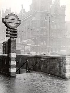 1950's view looking to St Pancras station and the junction of Euston Road (running to the left) with Pancras Road.