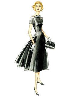 V1084   Misses' Raised-Neckline Dresses   Vogue Patterns Vogue Vintage, Vintage Vogue Patterns, Vintage Fashion, Classic Fashion, Vintage Sewing, Vintage Style, Vogue Dress Patterns, Vogue Sewing Patterns, Fashion Patterns