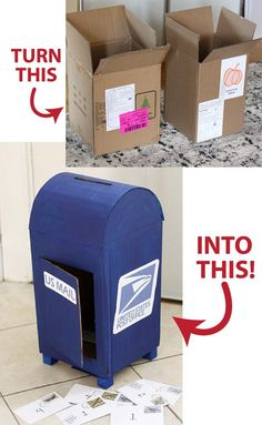Upcycle an old cardboard box into a fun play mailbox with this great tutorial! Upcycle an old cardboard box into a fun play mailbox with this great tutorial! Diy Cardboard Furniture, Cardboard Box Crafts, Cardboard Playhouse, Cardboard Toys, Diy Furniture, Cardboard Box Ideas For Kids, Cardboard Castle, Fireplace Furniture, Furniture Design