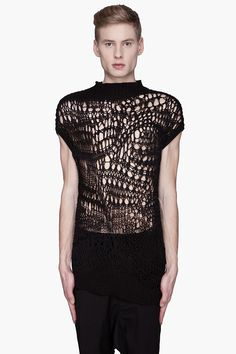 RICK OWENS Black open-knit Psyco top