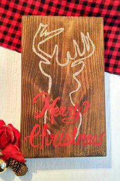 Excited to share the latest addition to my #etsy shop: Merry Christmas Deer head/Rustic Wood Sign/Antler/ Christmas/Holiday decor/Reclaimed wood/red gold/Farmhouse Christmas/hand painted sign http://etsy.me/2iUj7yJ