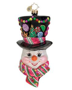 Radko SUGARED CHAPEAU Candyman Snowman ornament NEW ~ So Sweet for your Candyland themed Christmas tree! www.radkoforsale.com