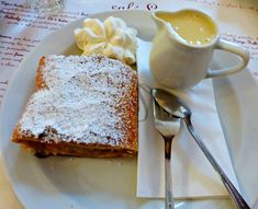 Apple Strudel with Whipped Cream and Custard