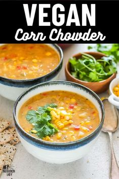 This delicious and creamy Vegan Corn Chowder Recipe is super easy to make and naturally gluten-free. Thickened with potato and natural corn starch and made creamy with coconut milk, this dairy free corn chowder is tasty and healthy. #vegan #soup #recipe #chowder #corn #cornchowder #vegetarian Vegetarian Comfort Food, Tasty Vegetarian Recipes, Vegan Soups, Healthy Recipes, Vegan Corn Chowder, Freezer Friendly Meals, Chowder Recipe, Vegan Main Dishes, Gluten Free Dinner