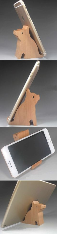 Wooden Pig Shaped Mobile Phone iPad Holder Stand