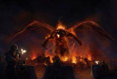 The attack of Balrog by AlvaroSanJuan on DeviantArt Balrog Of Morgoth, Fever Series, Paranormal Romance Series, Concerning Hobbits, Middle Earth, Tolkien, Fantasy Creatures, Lotr, Online Games
