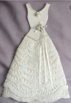 I& been making more paper dresses . and finding them a bit addictive . Another wedding dress made mainly with doilies . this measu. Paper Doily Crafts, Doilies Crafts, Paper Doilies, Paper Lace, Paper Clothes, Paper Dresses, Wedding Anniversary Cards, Wedding Cards, Wedding Images