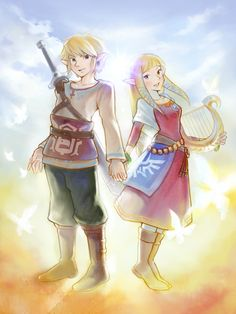 Link and Zelda in Skyward Sword