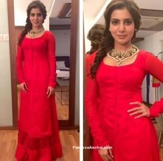 Samantha Ruth in Vasavi Shaha Red Lehenga On Meelo Evaru Koteeshwarudu sets-PakeezaAnchal.com