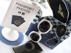 Airline / Passport photo booth, plane ticket invitation, departure boards & in-flight meals