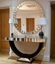 Vintage Interior Design Art Deco To Die For: Interior Design Ideas For Your Home - Sofa Workshop - Art Deco To Die For: Interior Design Ideas For Your Home. Are you are looking for Art Deco inspiration? Then take a look at these fantastic suggestions. Large Round Wall Mirror, Mirror Set, Mirror Ideas, Sun Mirror, Mirror Vanity, Black Mirror, Modern Console Tables, Mirrored Furniture, Modern Interior Design