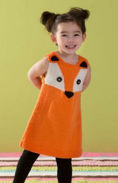 Child's Foxy Tunic Free Knitting Pattern from Red Heart Yarns