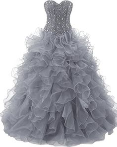 5cf3306686 OkayBridal Women s Beaded Ruffled Organza Long Quinceanera Dress Ball Gown  Prom Dresses