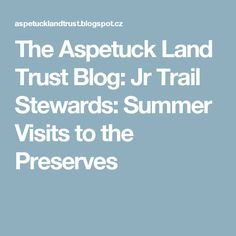 The Aspetuck Land Trust Blog: Jr Trail Stewards: Summer Visits to the Preserves