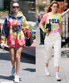 Tendência: A volta do Tie Dye! Madison Beer, Gigi Hadid, moletom tie dye, moletom colorido, t-shirt blusa tie dye, blusa colorida, tênis branco, moda feminina, tendências de moda,  looks blogueiras #looks #lookdodia #outfits #outfitoftheday #looksinspiração #style #styleinspiration #modafeminina #fashionoutfits #fashion