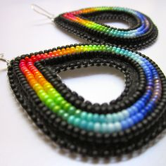 Beaded earrings by Navajo artist Andrea Preston