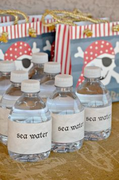 Swashbuckling Pirate Party Ideas: DIY Sea Water Bottles