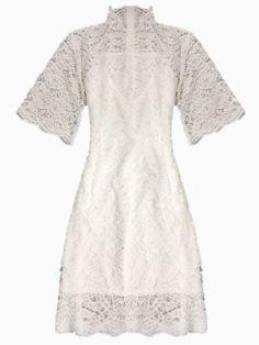 White High Neck Lace Dress   Choies