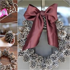 VIEW IN GALLERY This beautiful natural wreath was made of pine cones ! New Years Party, Cute Pattern, Custom Mugs, All Things Christmas, Pine Cones, Burlap Wreath, How To Look Pretty, Great Gifts, Projects To Try