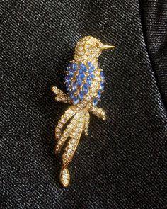 Vintage Nolan Miller signed Big Blue and White Bird gracefully sitting on Branch Rhinestones Brooch /Pin ~