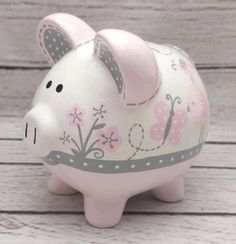 Birds and Butterflies Personalized Piggy Bank in Pink and Grey Personalized Piggy Bank, Personalized Gifts, The Little Couple, Pig Crafts, Mini Pigs, Piggy Banks, Baby Coming, Pottery Studio, Hand Painted Ceramics