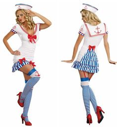 Have a crush on this sassy sailor costume? It includes sailor hat and dress with pick-up style tiered blue striped skirt at back, bows and anchors decor. Garter stockings and shoes not included.