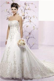Linha-A/Princesa Sem Alça Cauda Capela Chiffon Vestidos de Noiva
