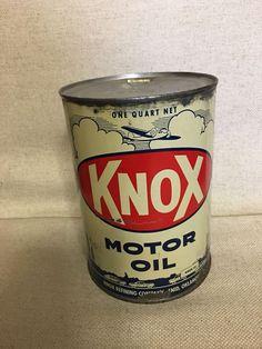 Knox Quart Oil Can Metal Graphic Aviation Airplane Rare  | eBay