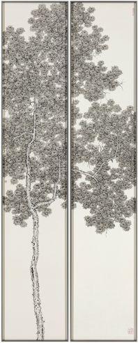 Artist: Koon Wai Bong, Title: Dancing in the Breeze 樹影婆娑 树影婆娑, 2014 ink on paper 水墨紙本 水墨纸本 diptych 雙屏 双屏, 169 x 31 cm each