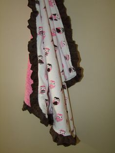 Pink and Brown Owls Minky Blanket with Minky by tarascozycreations