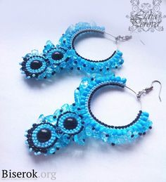 blue earrings.....These are easy to make when you know how to do brick stitch around the metal frame....