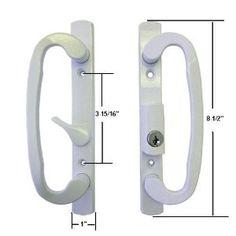STB Sliding Glass Patio Door Handle Set, Mortise Type, Keyed, White, 3