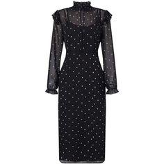 Miss Selfridge PREMIUM Printed Midi Frill Dress ($90) ❤ liked on Polyvore featuring dresses, black, midi dress, longsleeve dress, long sleeve ruffle dress, flouncy dress and high neckline dress