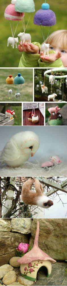 羊毛毡戳戳乐-小羊降落伞  Dry needle felting ideas - so cute!!